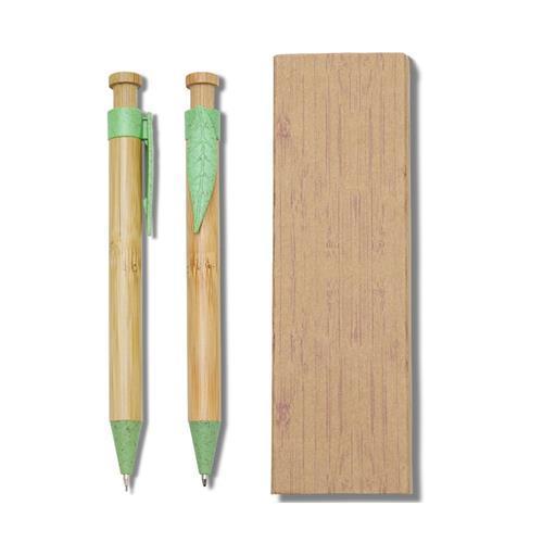 Kit Executivo Caneta e Lapiseira Bambu Personalizado